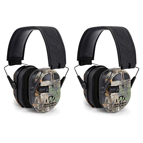 Walkers Ultimate Hunting Shooting AFT Power Muff Quads, Realtree Camo (2 Pack)