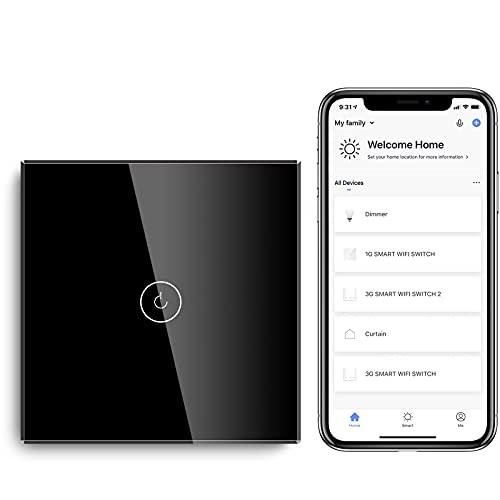 BSEED Interruptor de Sensor Táctil WIFI Inteligente (Se Requiere Línea Neutra) Alexa y Google Home Work con Tuya Para Interruptores de Luz de Pared con Placa de Cristal Negro 1 Gang 1 Vía Negro