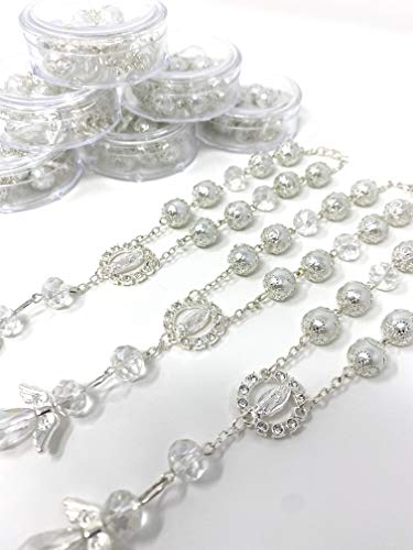 YRP 12 Baptism White/Silver Angel Favors Bracelet Party Favors Bautizo Recuerdos Angel/Lady Guadalupe Bracelet