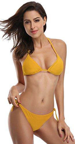 SHEKINI Damen Bikini Set Einfarbig Und Muster Zweiteiliger Badeanzug Mit Triangle Push Up Bandeau Padded Bandage Bikinihose (XL, Khaki)