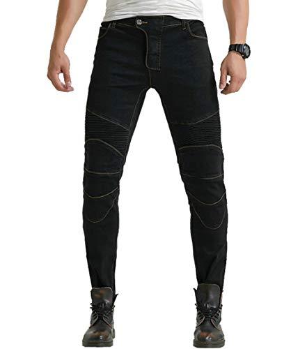 YuanDian Herren Motorrad Jeans Mit Protektoren Knie und Hüftprotektoren Stretch Slim Fit Denim Motorradhose Cargo Anti-Fall Straight Motorradjeans Schwarz 33W / 33L
