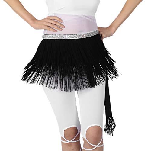 Bufanda de Cadera Pañuelo de Cintura con Borlas Triángulo para Danza de Vientre de Mujer - Negro, como se describe