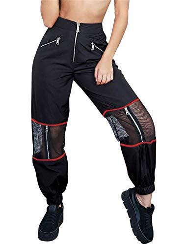 ORANDESIGNE Pantalone Largo Donna Baggy Hip Hop Harem Pants Punk Rock Lunghi Salopette Pantaloni Cargo Ragazza Moda Jogging Sport Dance Trousers Nero Small