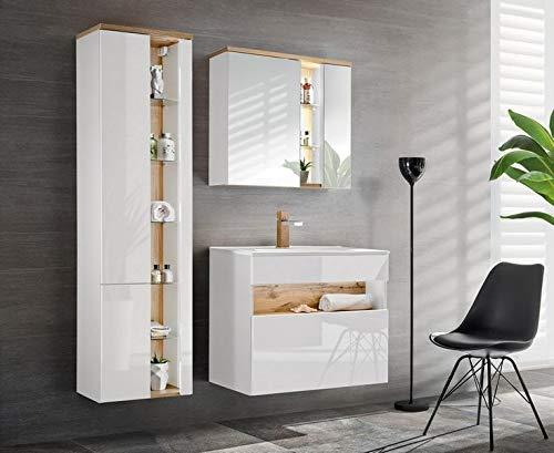 Jadella badmeubelset 'Rio II wit' badkamerset 4 TLG wastafel spiegelkast 80 cm eiken hoogglans wit met LED-verlichting