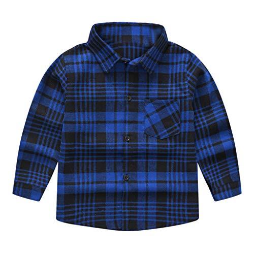 Anglewolf Baby Jungen Hemd Langarm festlich Baumwollmischung Kariertes Jungen Mädchen Hemden Plaid Kariert Freizeithemd Tops Shirt (A Blau,100)