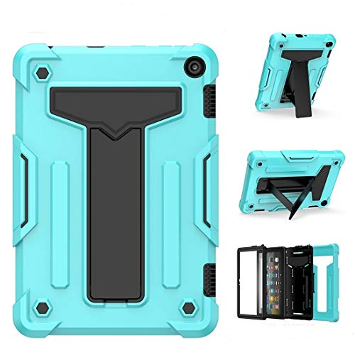 XHEVAT Tablet PC Cases For Amazon Kindle Fire HD 8 2020/Fire 8 Plus T-shaped Bracket Contrast Color Shockproof PC + Silicone Tablet Protective Case (Color : Mint Green+Black)