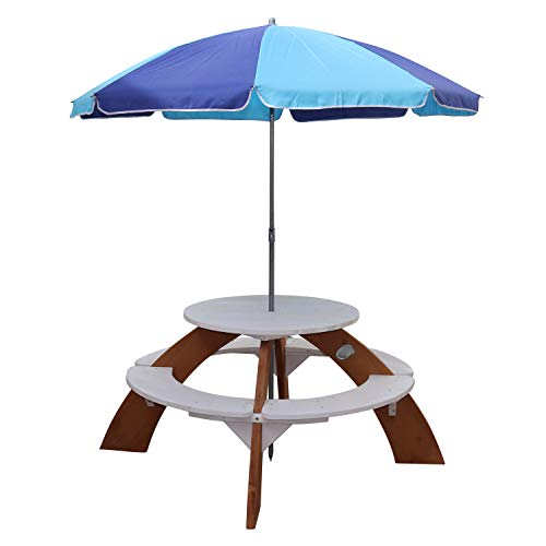 AXI Orion Picknicktisch für Kinder aus Holz | Runder Kindertisch mit Sonnenschirm für den Garten in Braun & Weiß