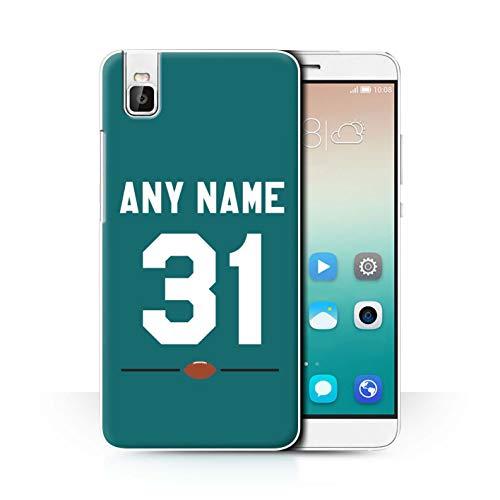 eSwish Personalisiert Persönlich Amerikanischer Fußball Jersey Hülle für Huawei Honor 7i/ShotX/Blaugrünes Grün Design/Initiale/Name/Text Schutzhülle/Hülle/Etui