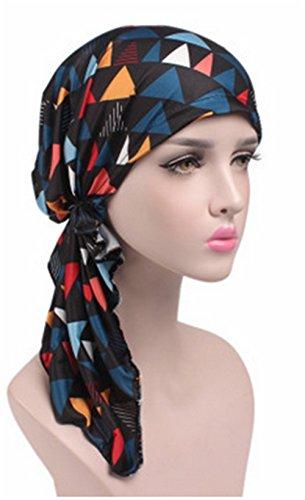 Seiyue - Pañuelo para mujer preatado con sombrero de quimioterapia para dormir y turbante, 02
