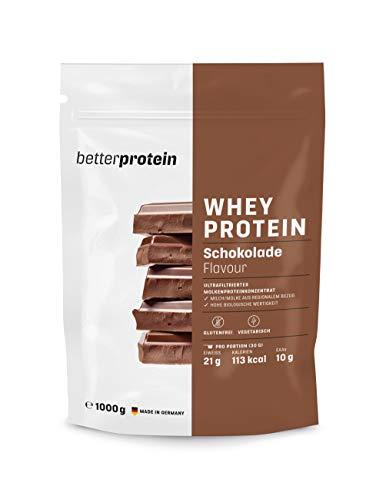 Whey Protein - Milch Schokolade 1 kg - Hergestellt in Deutschland aus regionaler Milch - BetterProtein® - Eiweißpulver zum Muskelaufbau und Abnehmen - Beutel