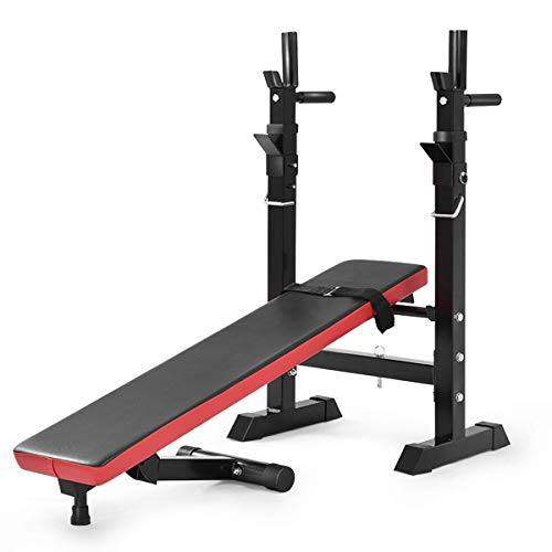 GYMAX Adjustable Weight Bench with Barbell Rack, Folding Lifting Bench for Full Body Exercise, Foldable Workout Sip Up/ Incline Bench for Home/Apartment