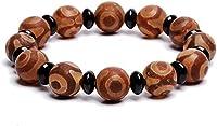 Feng Shui Armband, Natürliches Amulett Braun Tibetisch 3 Auge Dzi Perlen (12Mm) Armband Reichtum Armband Positive Energie Und Viel Glück