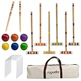 ROPODA Six-Player Croquet Set with Wooden Mallets, Colored Balls, Sturdy Carrying Bag for Adults &Kids, Perfect for Lawn,Backyard,Park and More.