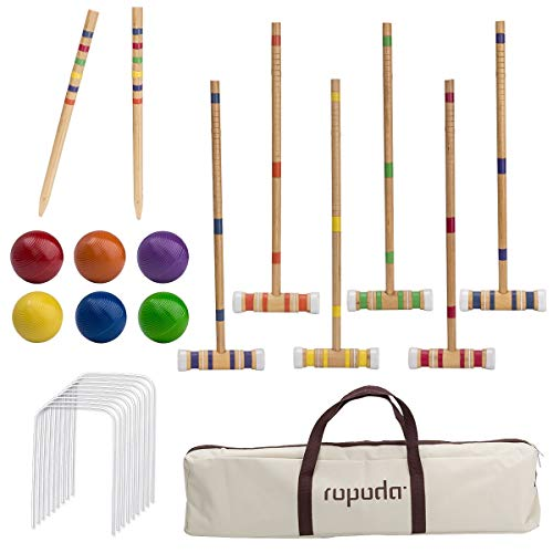 ROPODA Six-Player Croquet Set with Wooden Mallets