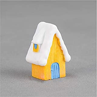 Toys&Hobbies 2 PCS Snow Scene House Christmas Snowman Decoration Resin Craft Gift Home Decoration(Blue) (Color : Yellow)