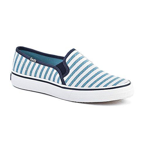 KEDS, DBL Deck, Damen Sneaker Slipper, Canvas, Stripe Blue, Gr.36, Blau-Weiß, 36 EU