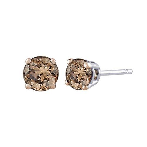 Katarina - 14 Kt Weißgold Rundschliff round-brilliant-cut braun Diamant
