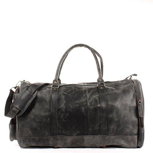 LECONI XL Reisetasche Sporttasche echtes Rindsleder Damen + Herren Weekender Handgepäck Reise Ledertasche 55x30x27cm grau LE2017-wax