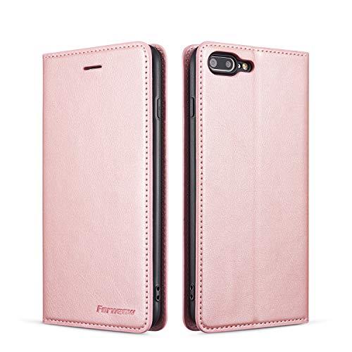 QLTYPRI Hülle für iPhone 7 iPhone 8 iPhone SE 2020, Premium Dünne Ledertasche Handyhülle mit Kartenfach Ständer Flip Schutzhülle Kompatibel mit iPhone 7 iPhone 8 iPhone SE 2020 - Rosegold