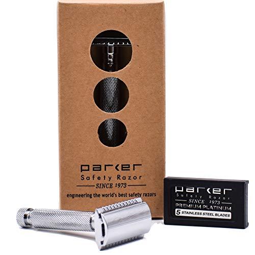 Parker Safety Razor Parker 97R tradicional mango corto seguridad de dos filos Razor & 5 Parker prima hojas de afeitar