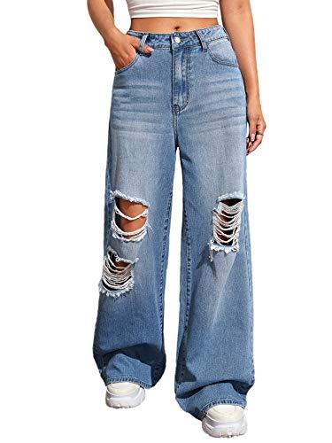 SweatyRocks Women's High Waist Distressed Ripped Baggy Loose Denim Jeans Blue S