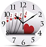 Silent Wall Clock,Poker Tournament Decorations,Royal Flush Playing Cards Hearts Betting Bluff Gambling Decorative,Red and White Non Ticking Wall Clock/Desk Clock for Office Home Decor 9.5 inch