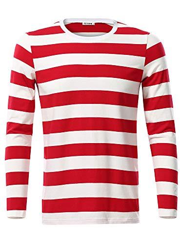 VETIOR Men's Cotton Red White Striped Shirt Waldo Costume Round Neck Long Sleeve