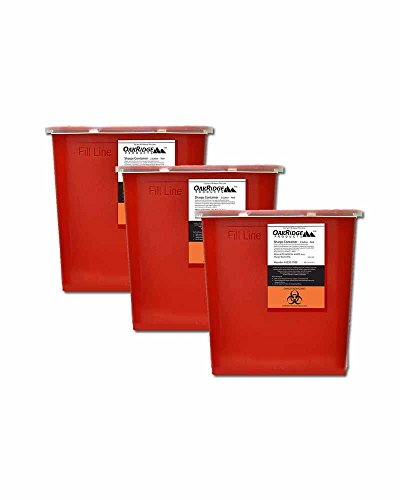 Oakridge 2 Gallon Sharps Disposal Containers (3 Count) | Large Size
