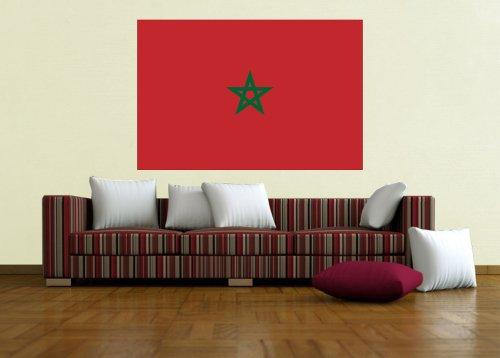 Kiwistar Wandtattoo Sticker Fahne Flagge Aufkleber Marokko 120 x 80cm