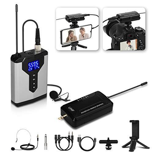 Bomaite Micrófono inalámbrico portátil mini solapa micrófono Lavalier con batería recargable y receptor para teléfonos móviles y cámaras SLR
