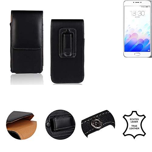 K-S-Trade Holster Gürtel Tasche Kompatibel Mit Meizu M3 Note Handy Hülle Leder Schwarz, 1x