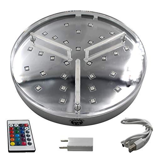Shisha King® großer LED Untersetzer | Licht Beleuchtung für Shisha | 16 Farben inkl. Fernbedienung | integrierter Akku - 7 Stunden Laufzeit