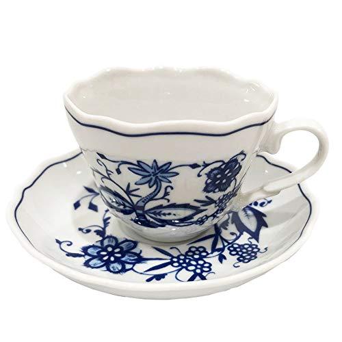 Triptis Zwiebelmuster Espressotasse mit Untertasse 2tlg, festoniert, original Thüringer Porzellan, Tasse ca. Ø 7 x 5.5 cm, Untertasse ca. Ø 11.5 x 2.5 cm, Zwiebelmuster, blau/weiß
