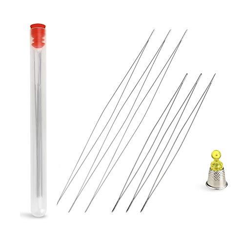 6 Pieces Big Eye Beading Needles with Needle Bottle (2.2 inch, 3 inch)