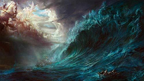Juegos de rompecabezas de 1000 piezas para arte familiar Sea Storm Fantasy Art Rompecabezas para adultos Juego de madera grande Dificultad divertido
