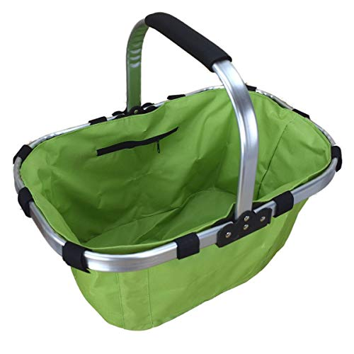 Marabella Einkaufskorb Tragetasche 43x29x36cm Korb klappbar Shopper aus 6 Farben wählbar, Farbe:grün