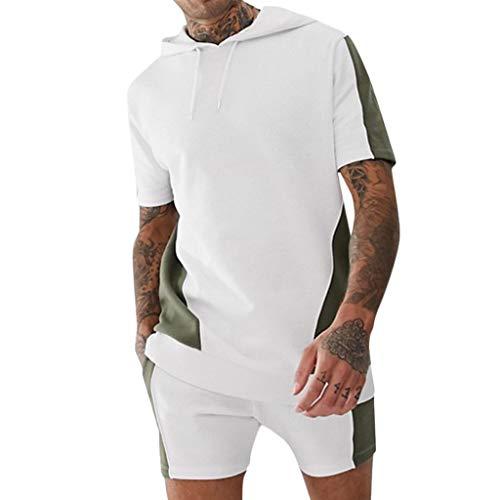 Yowablo Herren Set aus Trainingsshirt & Trainingsshorts Hemd und Shorts Kapuze Outfit Tasche Sport Farbblock Zweiteiler Set (M,Grün)