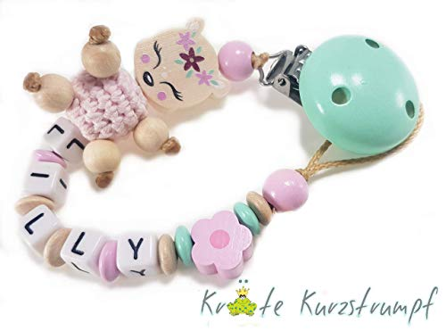 Schnullerkette mit Namen für Mädchen mit Reh, Stern - mint, natur, braun