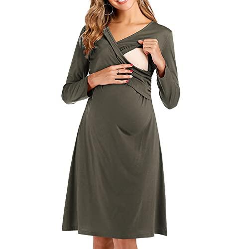 EMPERSTAR Mutterschaft Nachthemd Stillkleid Supersoft Nursing Nightshirt Schwangerschaft Nachthemd Grün XXL