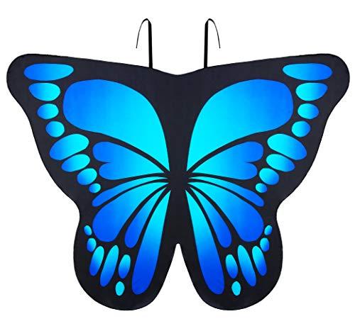 Seawhisper Schmetterling Kostüm Damen Schmetterlingsflügel Flügel Schmetterlingskostüm Erwachsene Faschingskostüme Blau