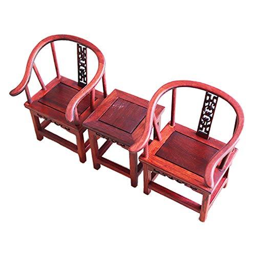 FLAMEER 3er-Set Miniatur Wohnzimmermöbel Chinesischer Beistelltisch & Sessel Stühle Set für 12 Zoll Blythe Dollfie DOD Puppe