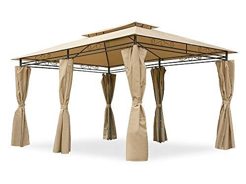 Garden Point Gazebo da Giardino Ibiza | 300 x 400 cm | Rettangolare | Idrorepellente | Ideale per i mobili da Giardino e Lo Jacuzzi | Montaggio Facile| Tende in Set | Crema
