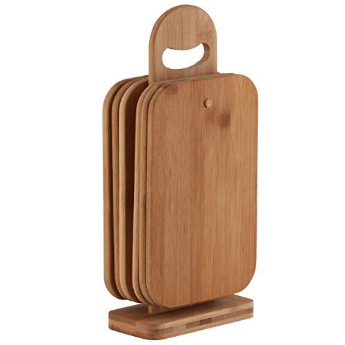 axentia Set taglieri in legno di bambù con supporto - Porta taglieri con 6 mini taglieri - Taglieri da lavoro o servizio a tavola - 22 x 14 x 0,8 cm