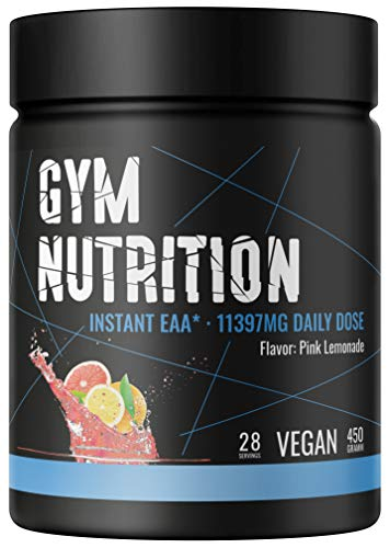 PREMIUM EAA Pulver hochdosiert I Alle 8 essentielle Aminosäuren I 450g I Vegan I LABORGEPRÜFT I (Pink Lemonade)
