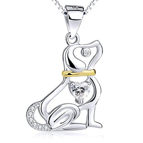 Bbyaki Collar Plata Ley 925 Con Circón Chapado En Oro Perro Colgante Moda Clavícula De 18 Pulgadas Cadena De San Valentín, Navidad, Regalo Día Madre