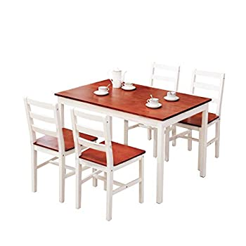 Mecor 5-Piece Wood Dining Table Set Kitchen Table w/ 4 Chairs Set Solid Pine Wood Frame for Home Kitchen Breakfast Furniture