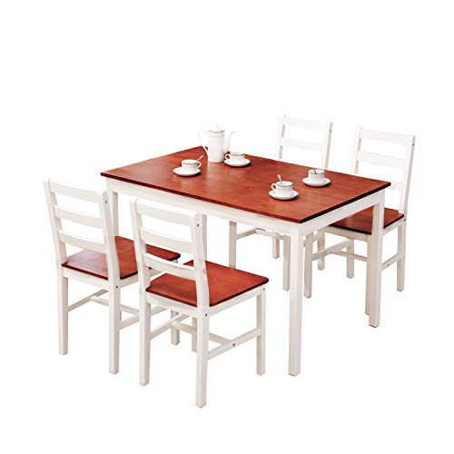 Mecor 5 Piece Wood Dining Table Set, Kitchen Table w/ 4 Chairs for Home Kitchen Breakfast Furniture