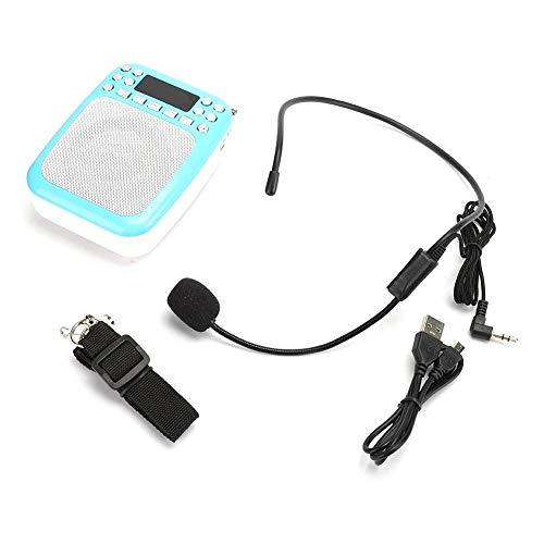 Draadloze spraakversterker, professionele luidspreker Voice Amp met riem + draadloze microfoon Headset/draagbare FM-radio-opname luidspreker voor docentenhandleiding(Blauw)