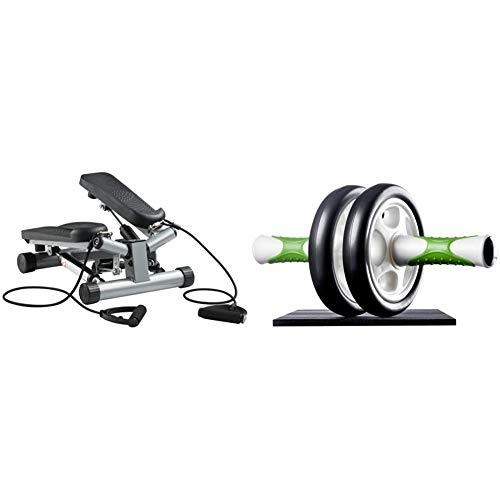 Ultrasport Up-Down-Stepper mit Trainingsbändern, Mini-Fitnessgerät inkl. Trainingscomputer mit vielen Funktionen & Bauchtrainer AB Roller/AB Trainer inkl. Knieauflage