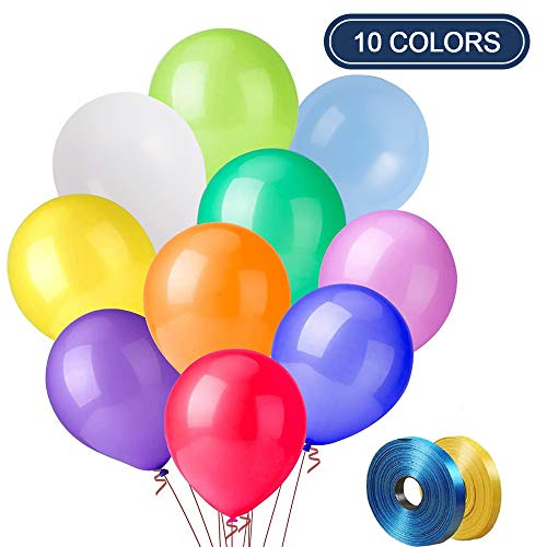 Latex Party Balloons 100 PCS, 12 Inch rainbow balloons for birthday party, helium color balloon arch Decoration, Assorted Balloons 10 Kinds Color X 10 PCS